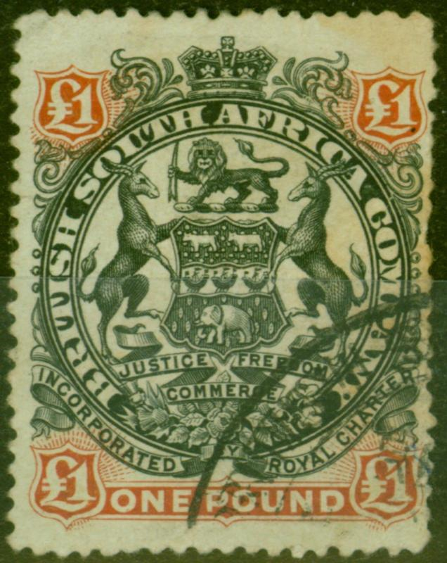 Rhodesia 1897 £1 Black & Red-Brown SG73 Ave Used