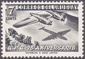 Uruguay # 599 mnh ~ 7¢ Airplane and Stagecoach, UPU