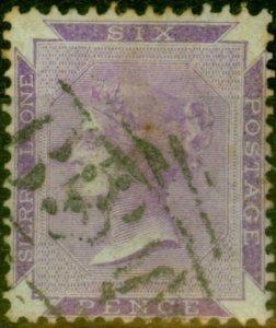Sierra Leone 1865 6d Grey-Lilac SG2 Good Used