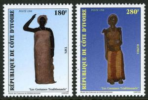 Ivory Coast 1025-1026, MNH. Traditional Costumes Grand-Bassam Museum, 1998