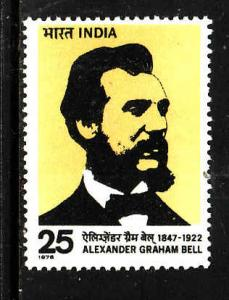 India-Sc#715-unused NH set-Telephone-Alexander Graham Bell-1976-