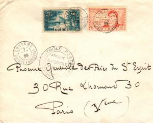 French Guinea 10c Guinea Village and 90c Caillie 1939 Conakry, Guinee Francai...