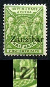 Zanzibar SG41F 1/2a Yellow-green with Gothic z M/M