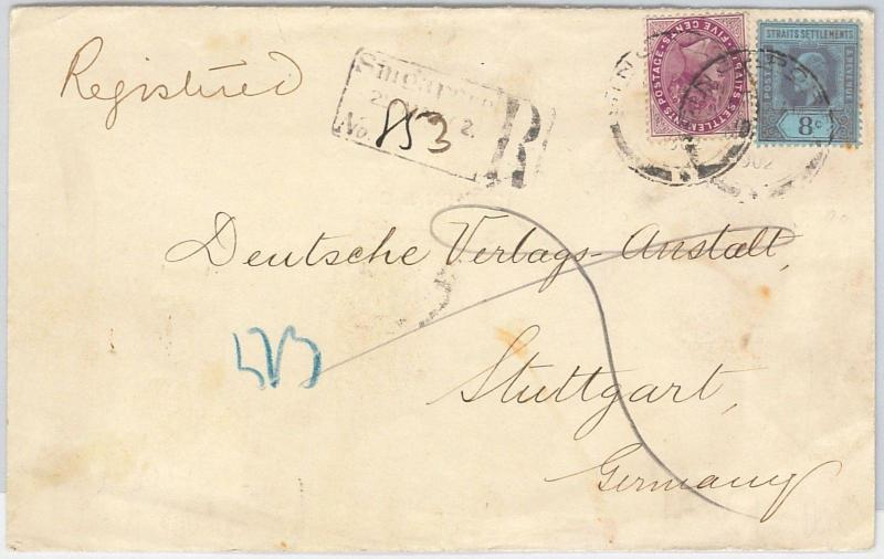 51918 - STRAITS SETTLEMENTS -  POSTAL HISTORY - MIXED FRANKING on COVER 1902