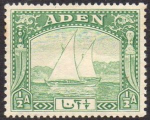 Aden 1937½a yellow-green (Dhow) MH