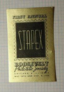 Annual STAPEX Roosevelt Philatelic Society 1939 Chicago Souvenir Ad Label