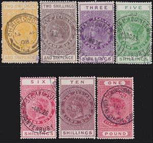 NEW ZEALAND 1880 Stamp Duty 7 values 2/6 to £1 used.........................4738