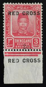 Malaya Trengganu 1917 RED CROSS Opt 3c+2c with Double RED CROSS MLH SG#19