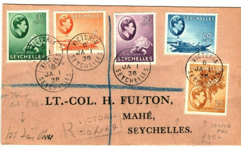 SEYCHELLES KGVI First Day Cover 3c - 25c Scarce FDC Registered 1938 PB228