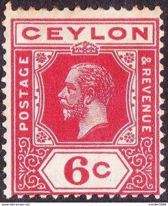 CEYLON 1921 KGV 6 cents Carmine-Red SG342 MH