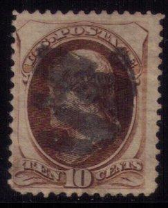 US Sc 161 Used Secret Mark 10c Brown Fine