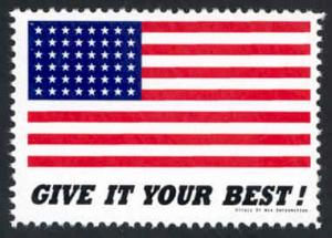 Patriotic WW2 Poster Stamp - Give It Your Best - Cinderella