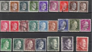 Stamp Germany Mi 781-802 Sc 506-27 1941 WWII 3rd Reich Hitler Head Set Used