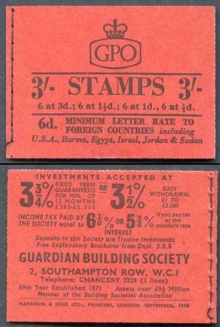 M14g Sept 1959 3/- Graphite Booklet 1 1/2d INVERTED