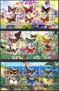 {g154} Chad Rwanda 2012 2013 Butterflies 3 sh. Used / CTO Cinderella