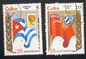 CUBA Sc# 2858-2859  BAY OF PIGS revolution CPL SET of 2  1986  MNH mint