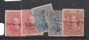 Costa Rica Guanacaste Lot of Five Postal Fiscals mint/used (5dmn)