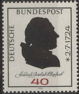 Stamp Germany Sc 1143 1974 Friedrich Gottlieb Klopstock Poet MNH