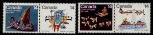 Canada 770a,72a MNH Inuit Art, Travel, Aircraft, Dogs