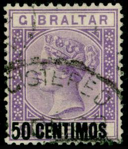 GIBRALTAR SG20, 50c on 6d Bright Lilac, FINE USED. Cat £80.