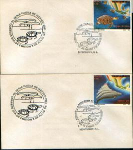 MEXICO 1281-82 FDC(2) Preservation of Sea turtles and whales