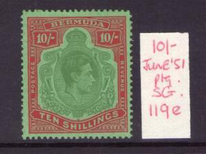 BERMUDA SG119e Jun 51 ptg perf 13 ordinary paper Green & vermilion/green hinged