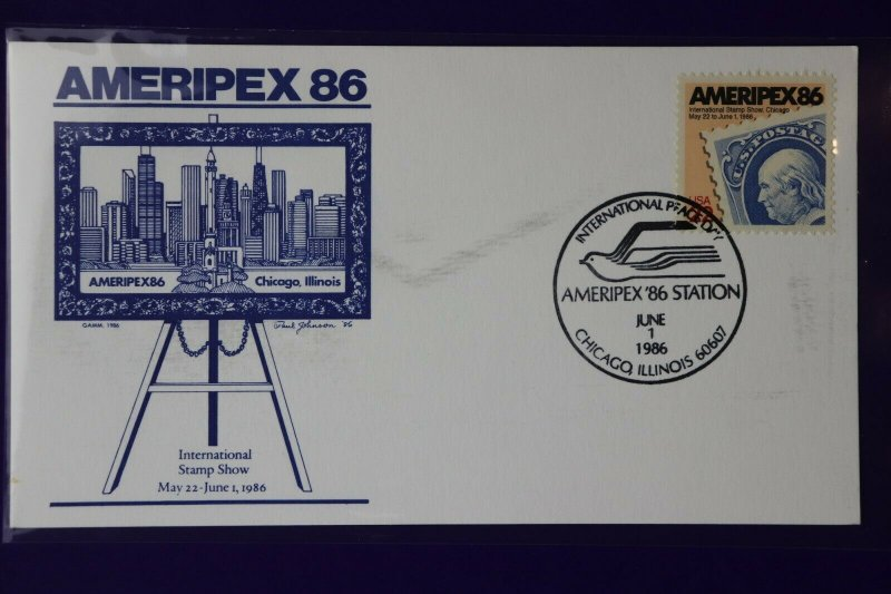 US sc#2145 AMERIPEX 86 1986 stamp show GAMM Cachet Peace Day station card expo