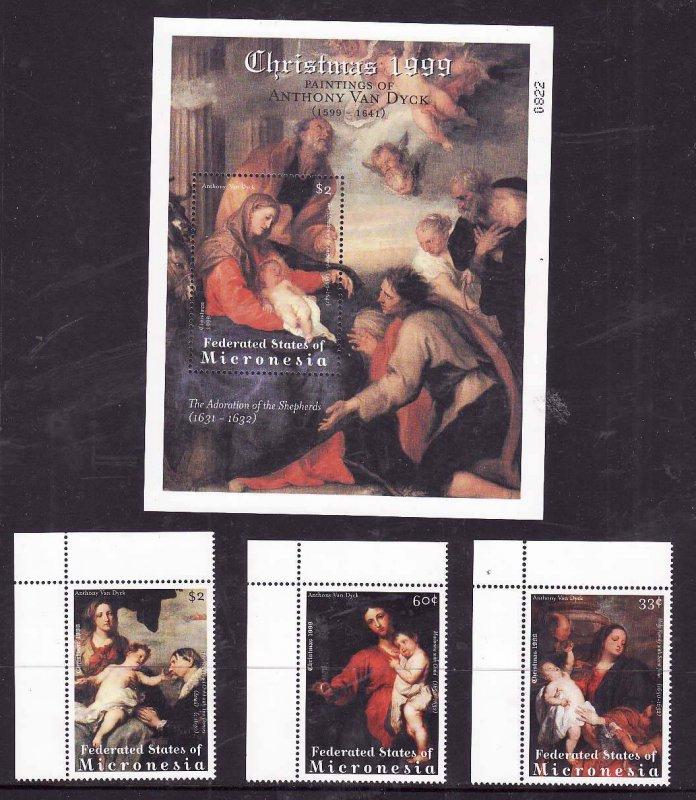 Micronesia-Sc#358-61- id7-unused NH sheet + set-Christmas paintings-Van Dyck-199