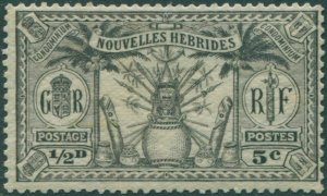 New Hebrides French 1925 SGF42 5c ½d black Weapons Idols MLH