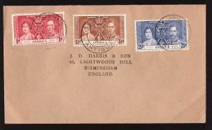 Antigua, 1937 Coronation set on cover to England  -BO45