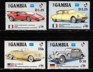 Gambia 1986 Ameripex Cars Sc 621, 623, 625, 627 MNH A1392