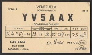 QSL CARD Aldo Bajlo,YV5AAX,94,Venezuela,South America(Q4507)