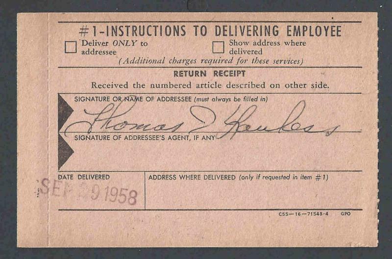 1958 U S Post Office Dept Official Business Card Form 3811
