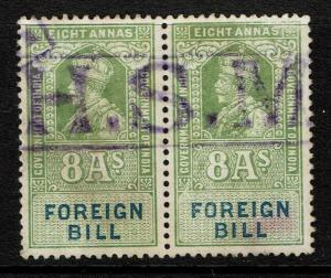 India 1923 8a Foreign Bill Stamp Pair Used / H.S.M Cancel - S1861