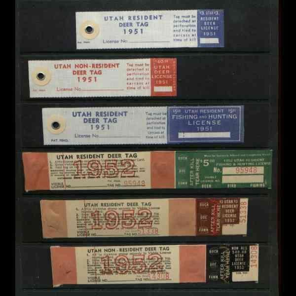 US 1951-2 Utah Deer Tags - 6 diff State Revenues