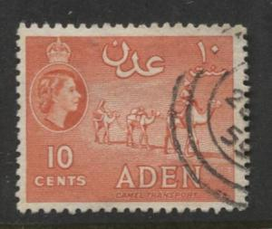 ADEN - Scott 49a - QEII Definitive- Vermillion - 1953- Used - Single 10c Stamp