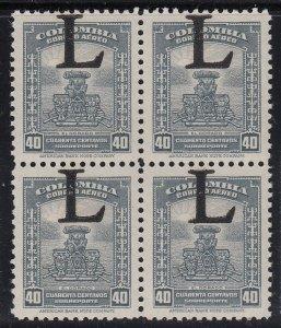 Colombia 1950 LANSA 40c Grey Large 'L' Overprint Error MNH Block. Scott C180 var