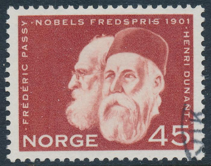 Norway Scott 401 (Facit 497), 45ø red Nobel Prize, VF Used