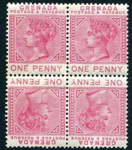 GRENADA-1887 1d Carmine Tete-Beche Block of 4 Sg 40a MOUNTED MINT V24429
