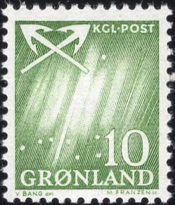 Greenland 50 - Mint-NH - 10o Northern Lights / Crossed Anchors (1963) (cv $0.55)