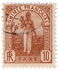 (I.B) France Colonial Revenue : Guinea Post Tax 10Fr