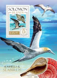 SOLOMON ISLANDS 2013 SHEET SEABIRDS BIRDS SEASHELLS SHELLS MARINE LIFE slm13815b