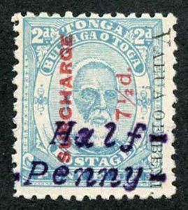 TONGA SG37Ap 1896 Half Penny on 7 1/2d on 2d pale blue perf 12 Superb Mint
