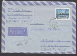 HUNGARY 1979 5f single franking airmail cover to New Zealand................L678