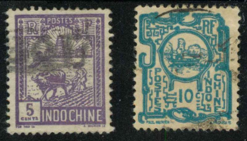 Indo-China 123 & 128 Used F-VF
