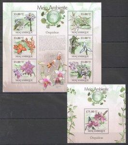 BC1331 2010 MOZAMBIQUE FLORA ENVIRONMENT FLOWERS ORCHIDS 1KB+1BL MNH