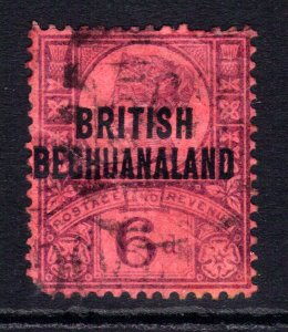 Bechuanaland 1897 – 02 QV 6d Purple /Red Ovpt used SG 65 ( E597 )
