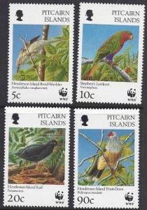 Pitcairn Islands #457-60 MNH, WWF various birds
