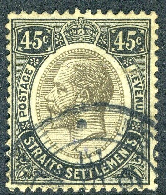 STRAITS SETTLEMENTS-1918 45c Black/Blue Green (Olive Back) Sg 203a  GOOD USED