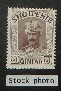 Albania 122 var. 1914 20q Brown, without overprint, NH